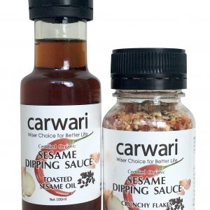 CARWARI Org Sesame Dipping Sauce Flakes 65g and Oil 100ml (Shrink wrapped together)