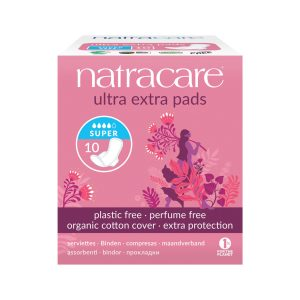 NATRACARE Ultra Extra Pads Super with Organic Cotton Cover x 10 Pack
